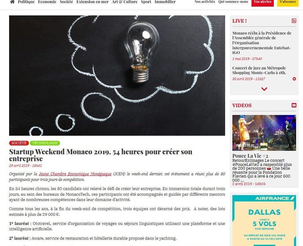 On parle de nous dans la presse Monégasque ...