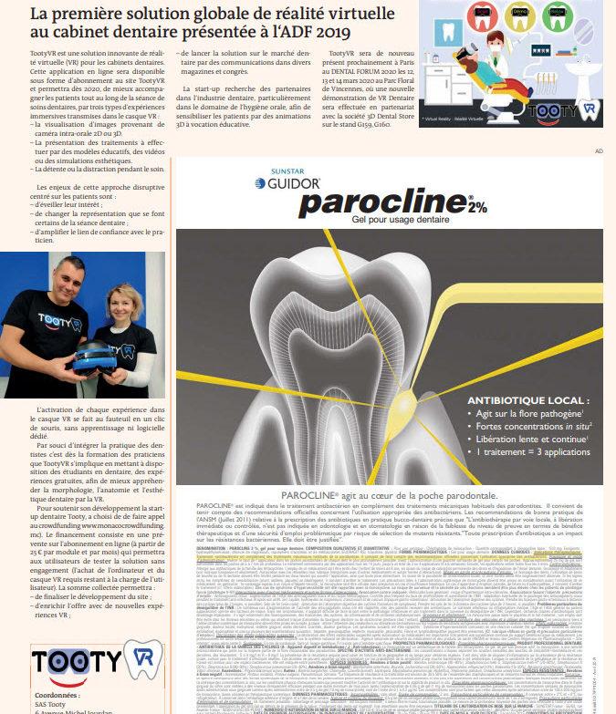 Presse : Tooty VR dans Dental Tribune